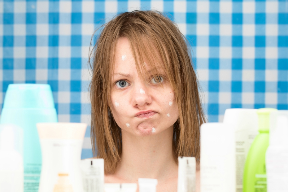 Acne products and girl