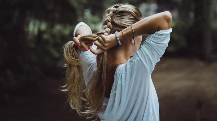 Girl Braiding Blonde Hair