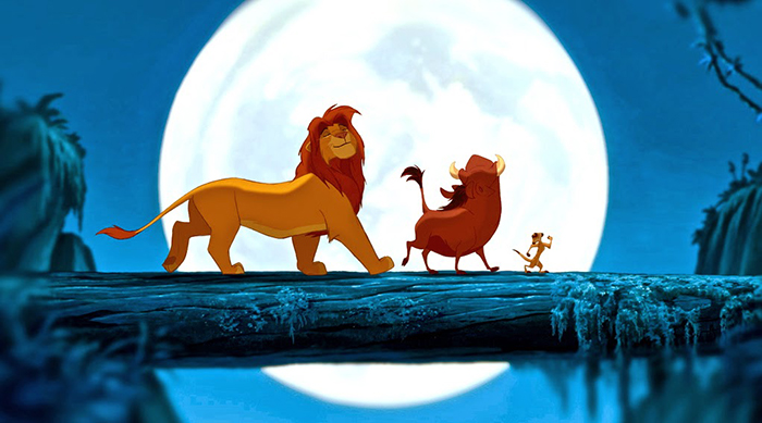 Simba, Timon and Pumba singing 'Hakuna Matata' in Disney's The Lion King