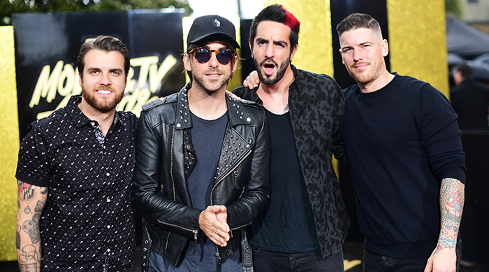 LOS ANGELES, CA - MAY 07: Musicians Zack Merrick, Rian Dawson, Alex Gaskarth and Jack Barakat of All Time Low attend the 2017 MTV Movie And TV Awards at The Shrine Auditorium on May 7, 2017 in Los Angeles, California. (Photo by Matt Winkelmeyer/Getty Images)