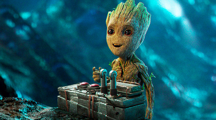 Baby Groot with the red button