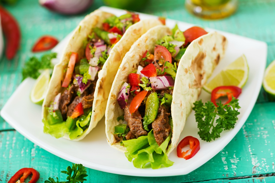 Beef tacos on a plate