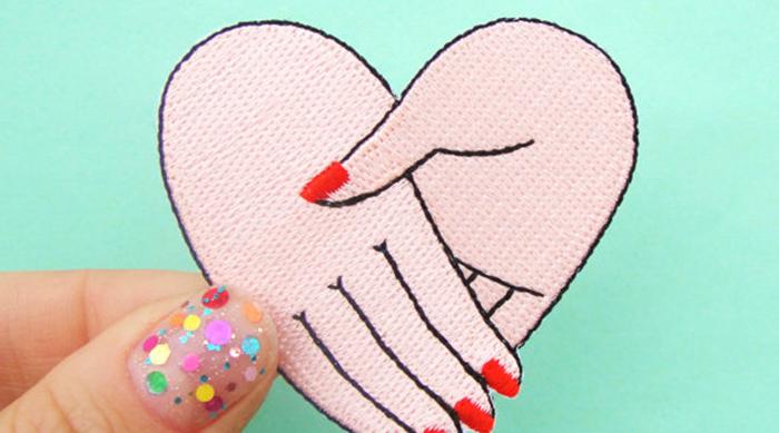 Best friend pink heart patch