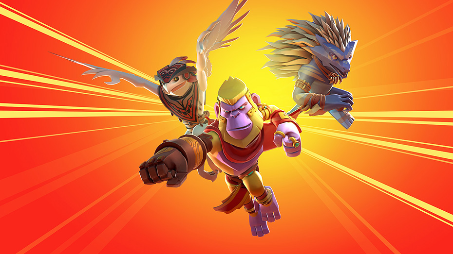 Brawlout: King Apu, Chief Feathers and Volt on yellow and orange background