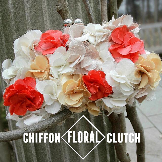 Floral chiffon clutch