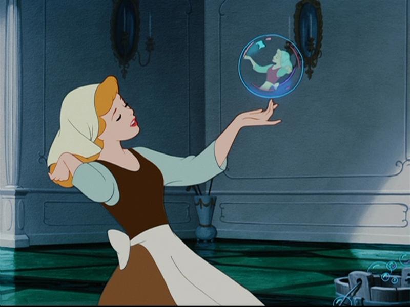 Cinderella singing while cleaning in Disney's Cinderella