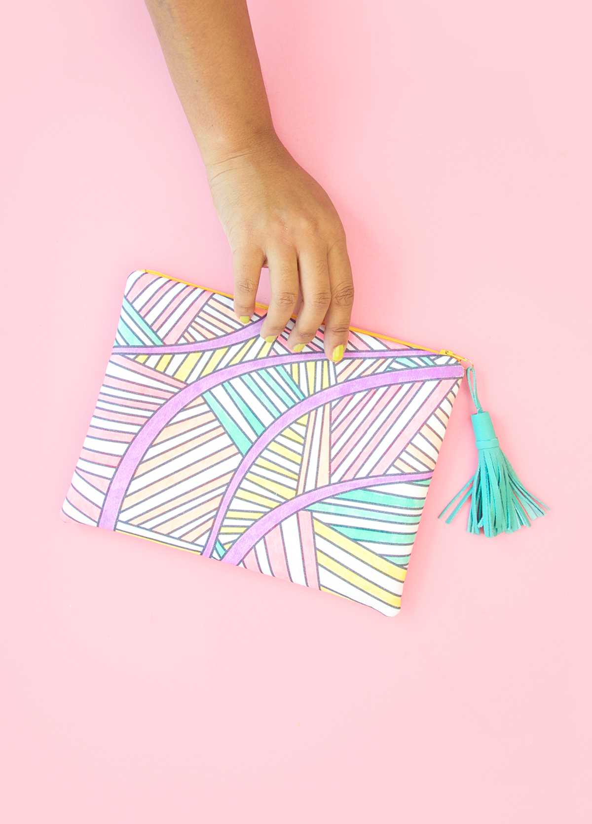 Coloring book fabric clutch
