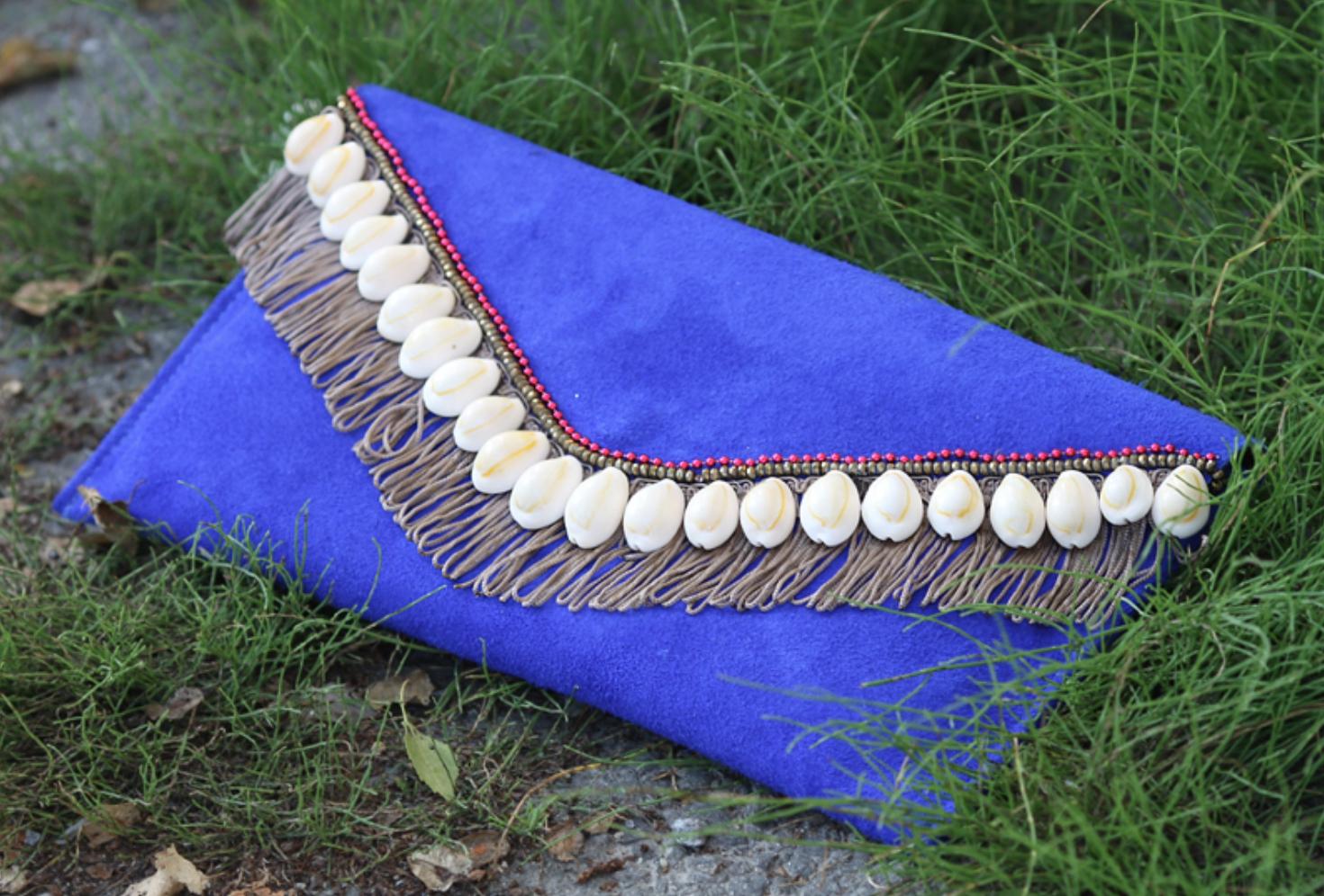 DIY embellished shell clutch