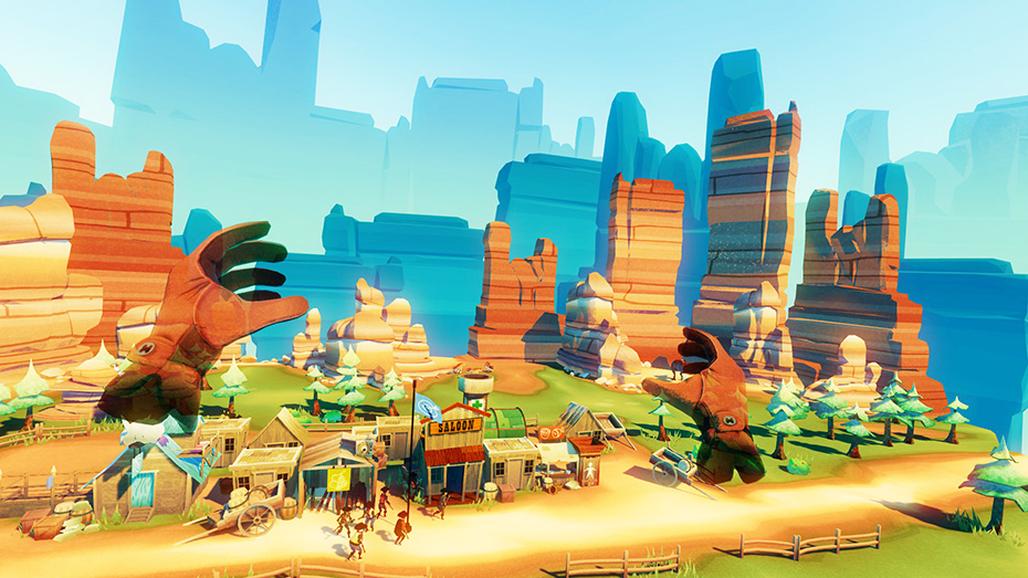 Dino Frontier on Playstation VR: Floating hands over the town