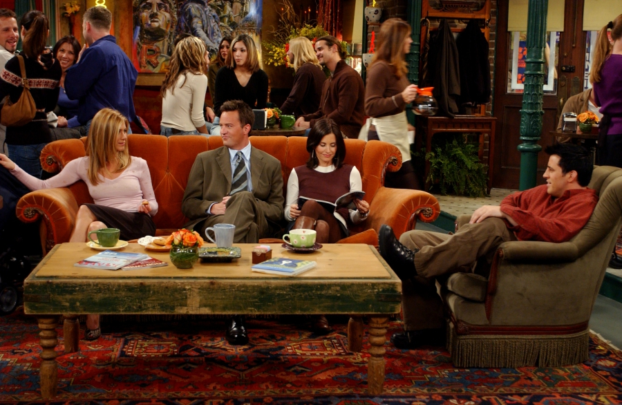 The characters from Friends sitting in Central Perk