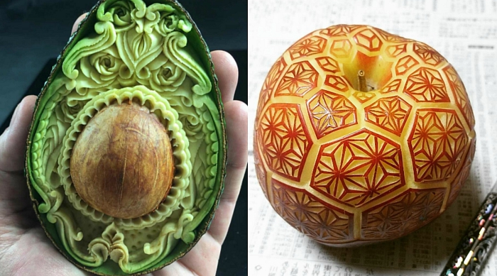 Avocado and apple carving