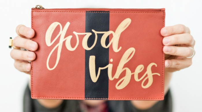 Hand-lettered clutch