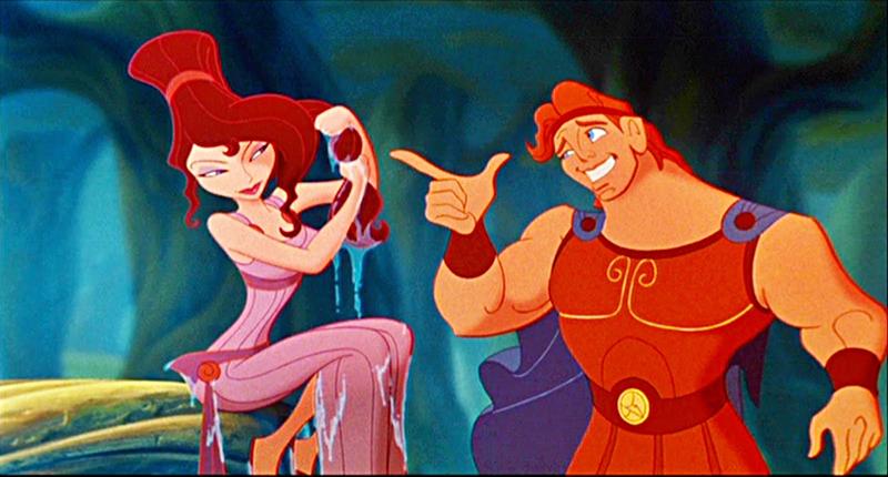Hercules chatting up Megara in Disney's Hercules