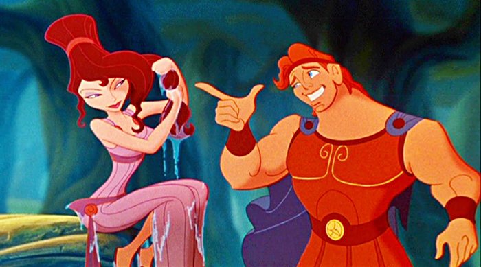 Hercules chatting up Megara in Disney's Hercules