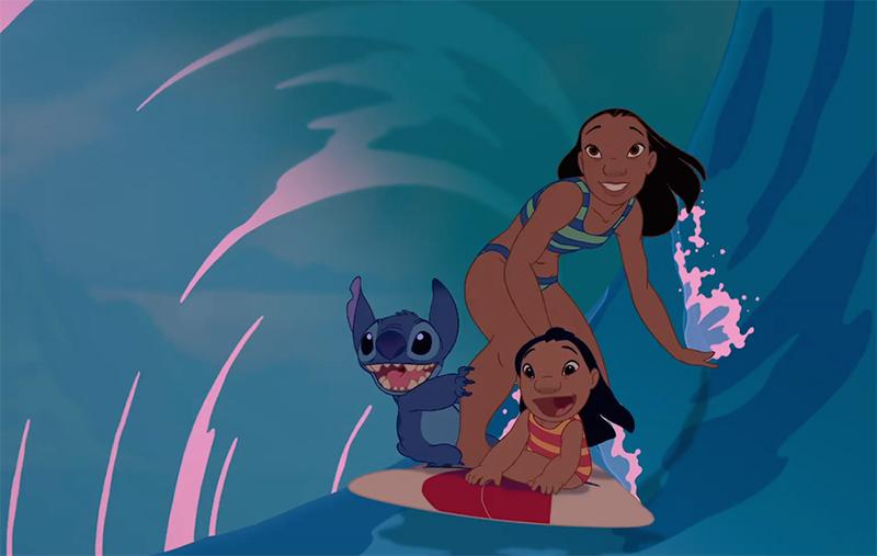 Lilo, Stitch and Nani surfing in Disney's Lilo & Stitch