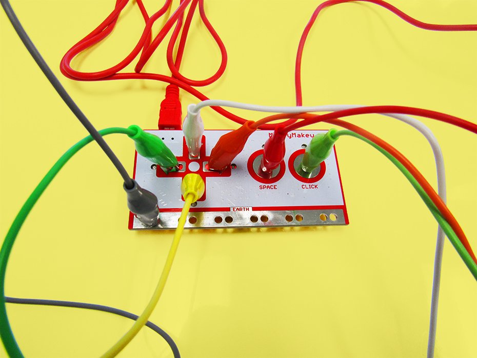 Makey Makey board with alligator wires