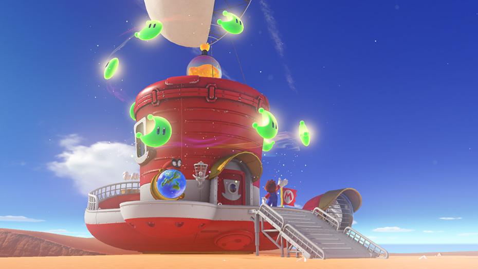 Super Mario Odyssey: Moons powering Mario's airship, the Odyssey