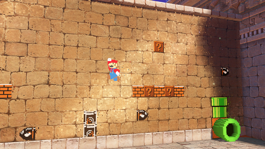 Super Mario Odyssey: Pixel Mario section with Mario jumping over Bullet Bill
