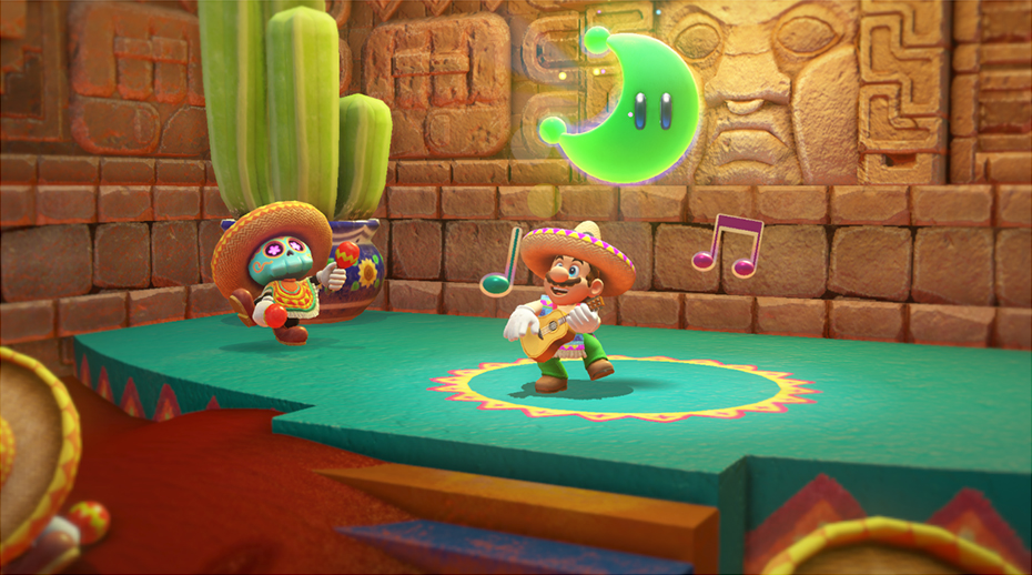 Super Mario Odyssey: Mario plays guitar in desert kingdom