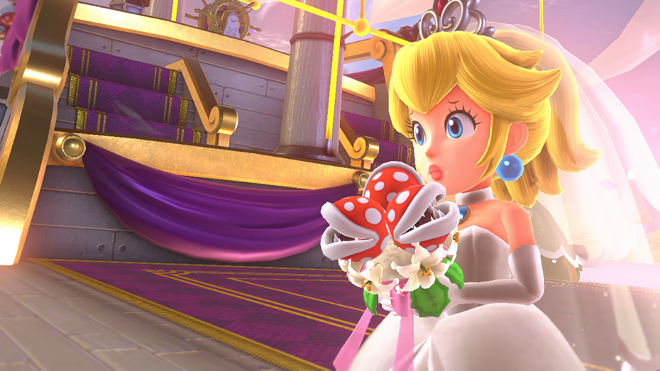Super Mario Odyssey: Peach in wedding dress holding piranha plant bouquet