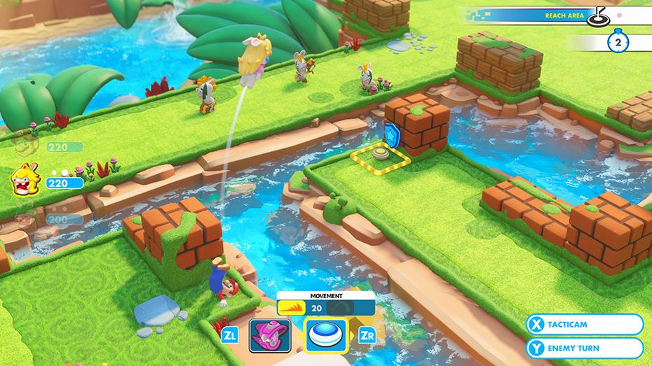 Mario + Rabbids Kingdom Battle Mario throwing Peach rabbid