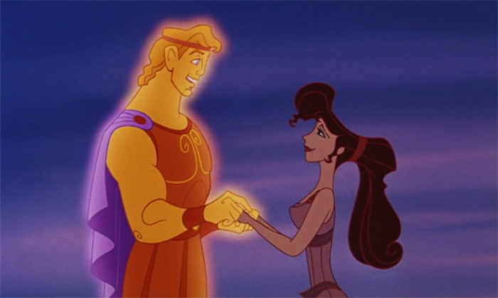 Hercules and Megara holding hands after he becomes a god