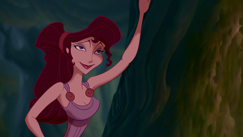 Megara leaning against a tree in Disney's Hercules