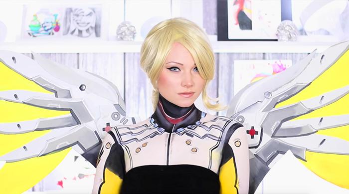 YouTube makeup guru MakeYewLook wearing Mercy from Overwatch makeup