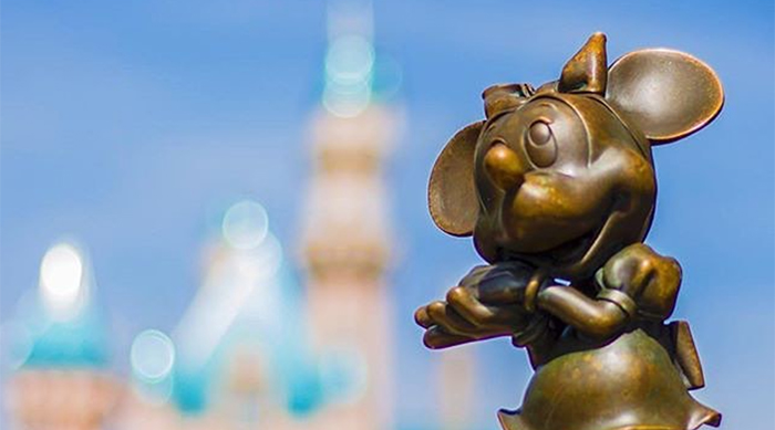 Minnie Mouse Statue in Front of Disneyland Castle