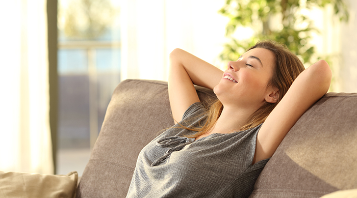 Girl relaxing on couch