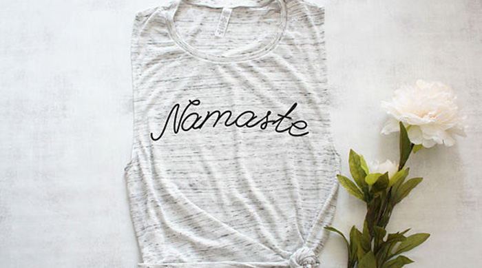 Namaste tank with a rose