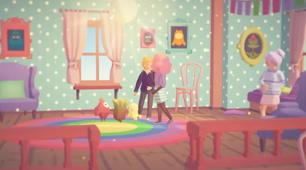 Ooblets chatting with people inside house