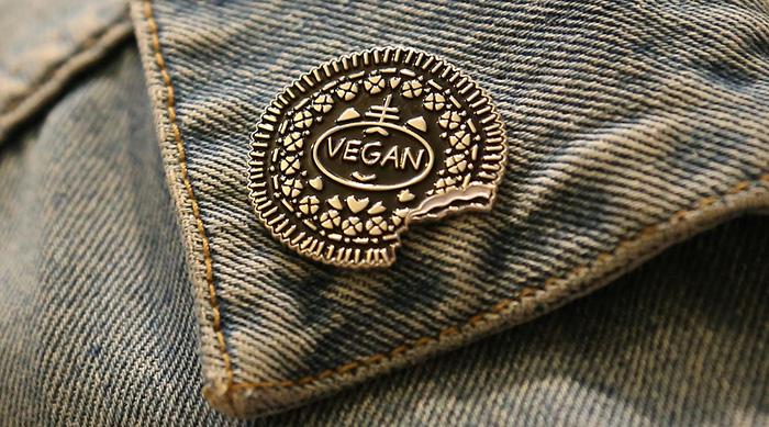 Vegan Oreo lapel pin from Etsy
