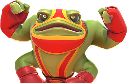 Brawlout: The wrestling frog Paco flexing his muscles