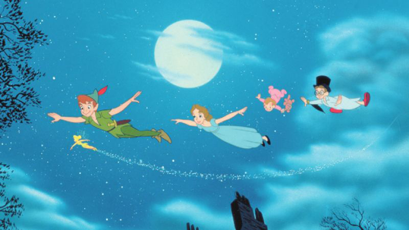 Peter Pan, Tinker Bell, Wendy, Michael and John flying to Neverland in Disney's Peter Pan