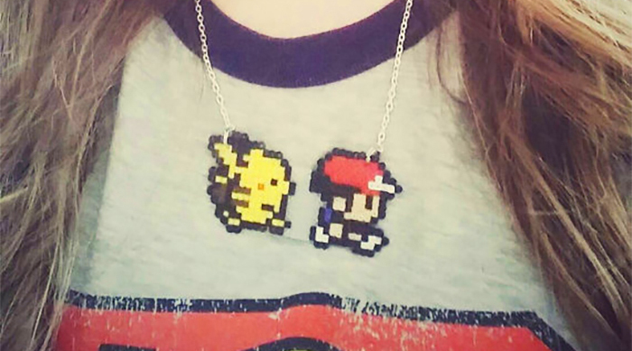 Pikachu and Red and Blue pixel necklace