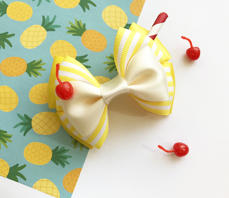 Pineapple Dole Whip-inspired hair bow from Etsy