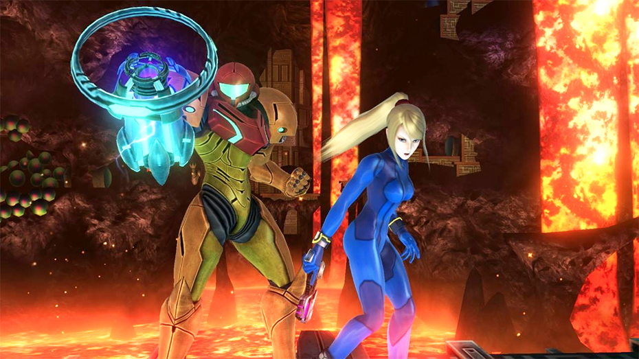 Samus Aran and Zero Suit Samus from Super Smash Bros