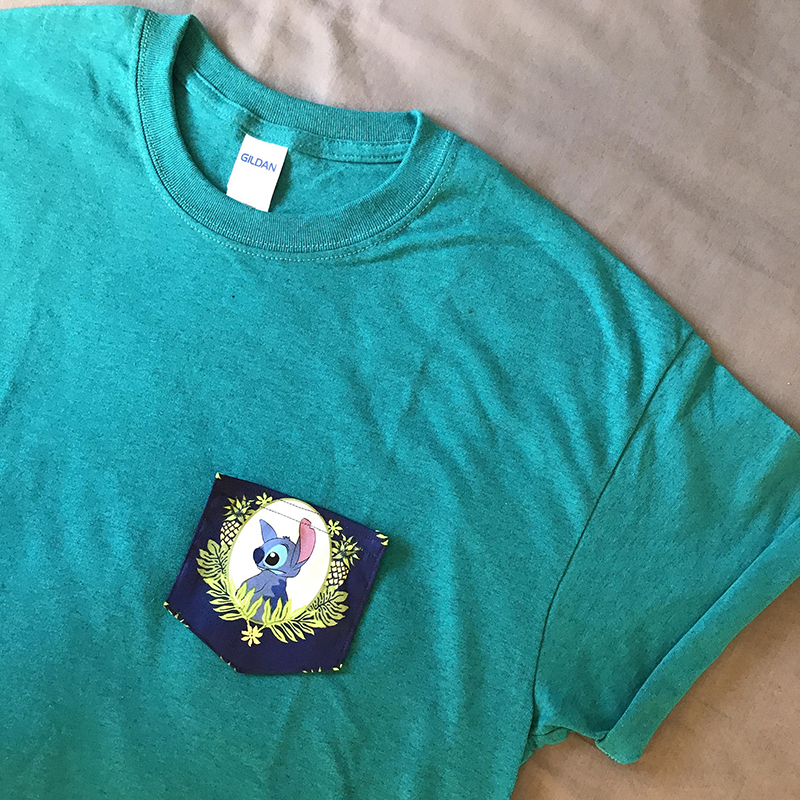 Stitch pocket t-shirt from Etsy