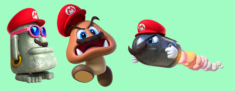 Super Mario Odyssey: Mario possessing an easter island head, goomba and bullet bill