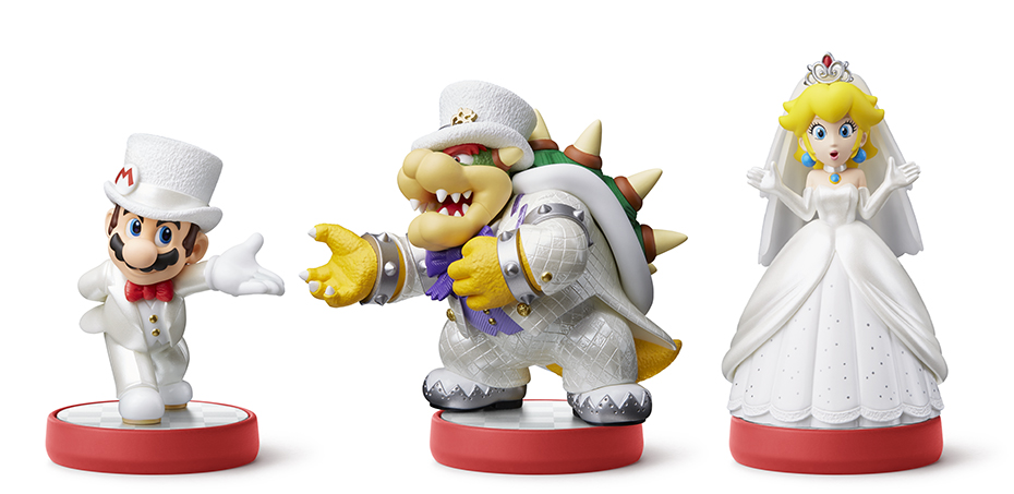 Super Mario Odyssey: Mario, Bowser and Peach wedding amiibos