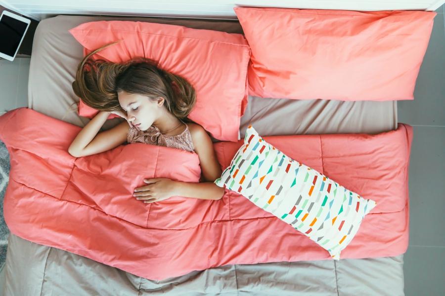 Teen girl trying to sleep