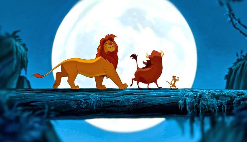 Simba, Timon and Pumba singing 'Hakuna Matata' in Disney's The Lion King