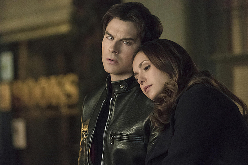 "The Vampire Diaries -- ""I Never Could Love Like That"" -- Image Number: VD618a_0028.jpg -- Pictured (L-R): Ian Somerhalder as Damon and Nina Dobrev as Elena -- Photo: Tina Rowden/The CW -- © 2015 The CW Network, LLC. All rights reserved."