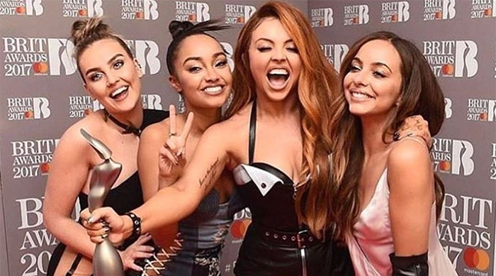 Little Mix after winning their first Brit Award