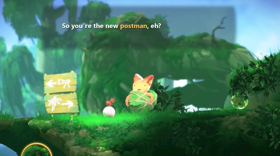 Yoku's Island Adventure Yoku the postman meets cabbage cat