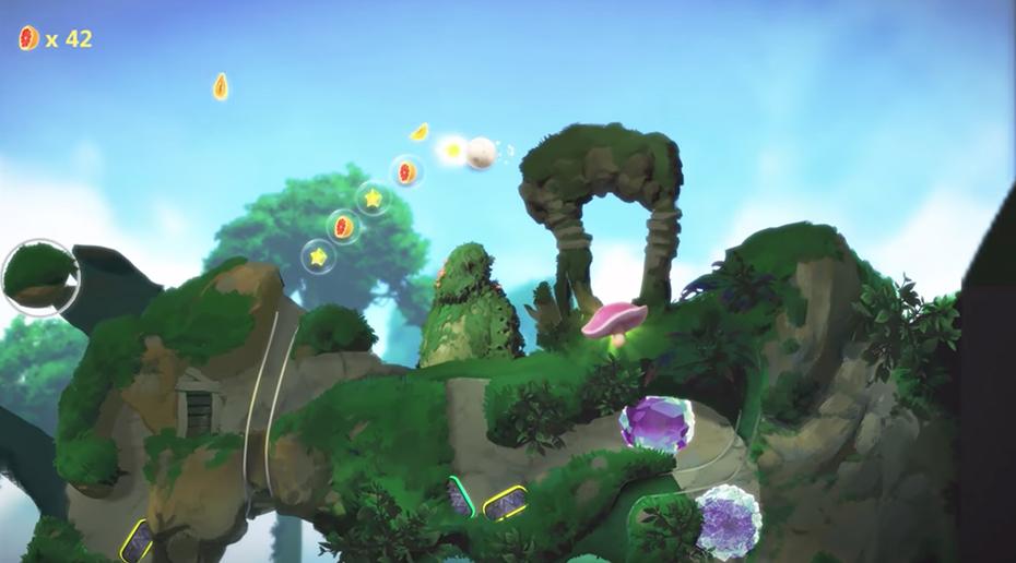 Yoku's Island Exoress: pinball fruit segment