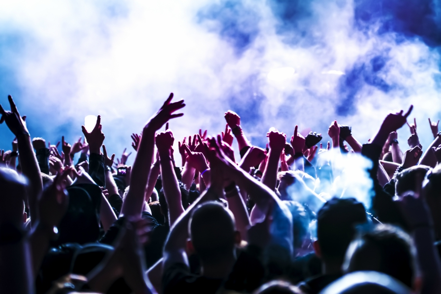 Crowd with their arms up at a concert