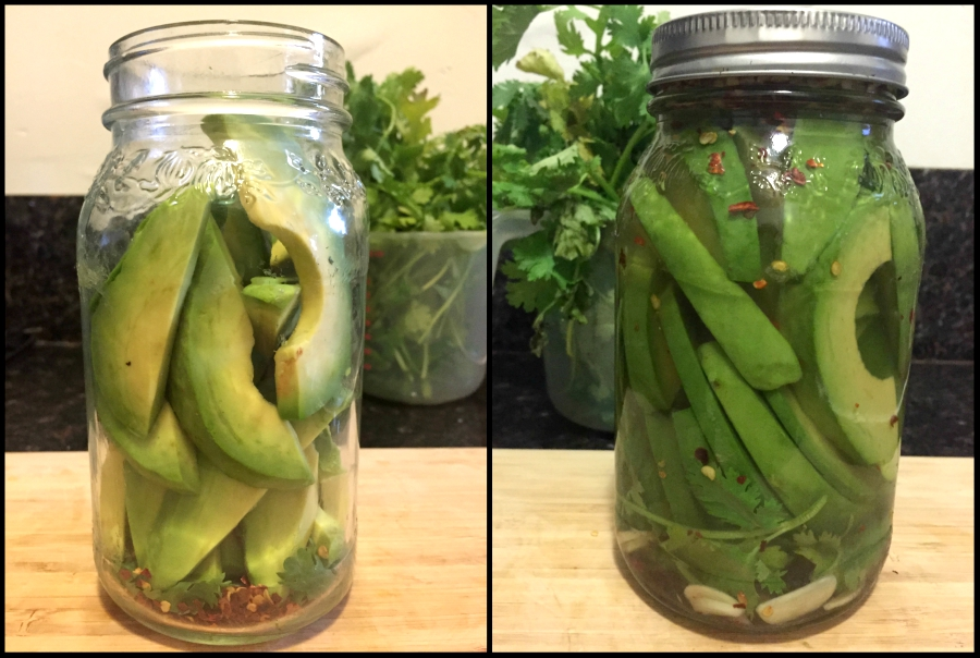 Ingredients in jar, before and after adding pickling juice