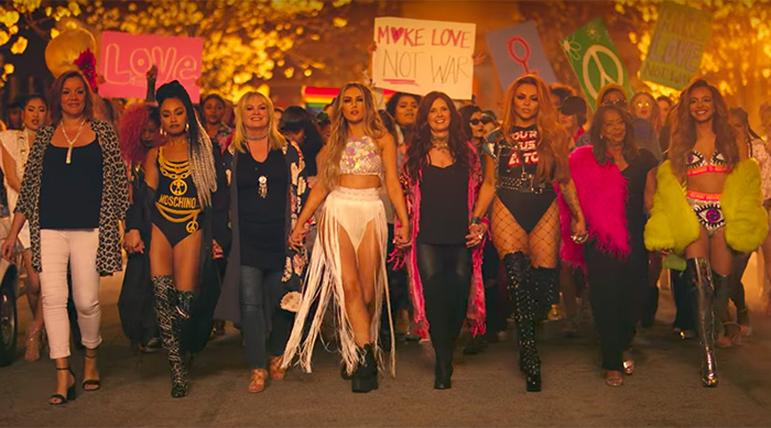 Little Mix with their moms in their music video for Power
